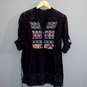Johnny Was Floral Embroidered Button Tunic Blouse